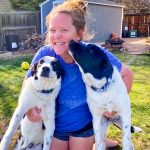 Photo of math teacher MacKenzie Boeckmann and her two border collie mixes Piper and Cannon