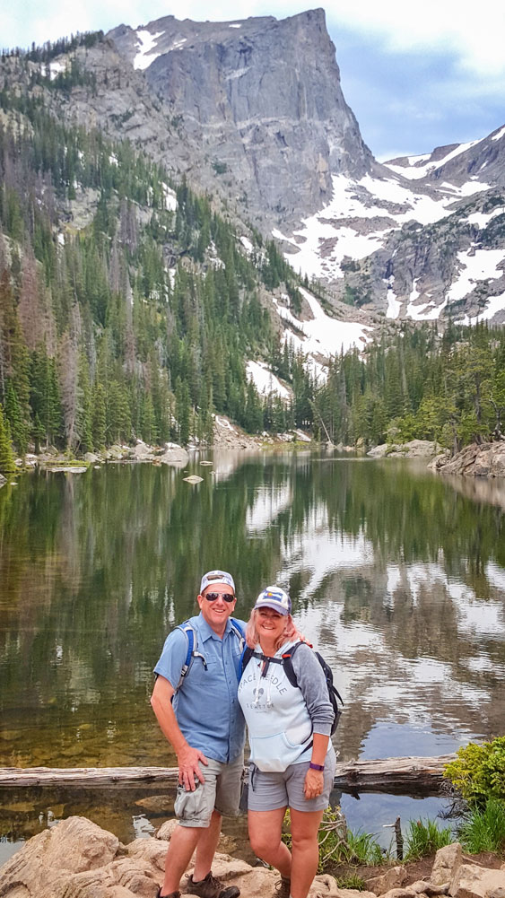 Photo of Jim and Charlotte Mattox on a hike in Rocky Mountain National Park.