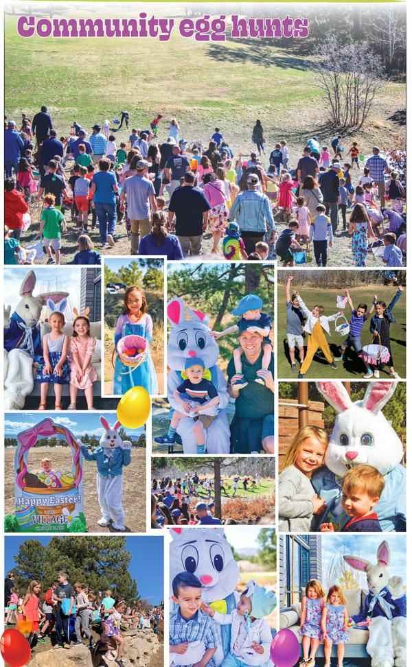 Photo collage of egg hunt in 80108 neighborhoods