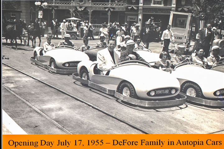 Photo of Dave DeFore riding in the cars at Disneyland's Autopia