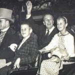Photo of Ron DeFore and his sister Dawn with Walt Disney in the Disneyland Christmas parade