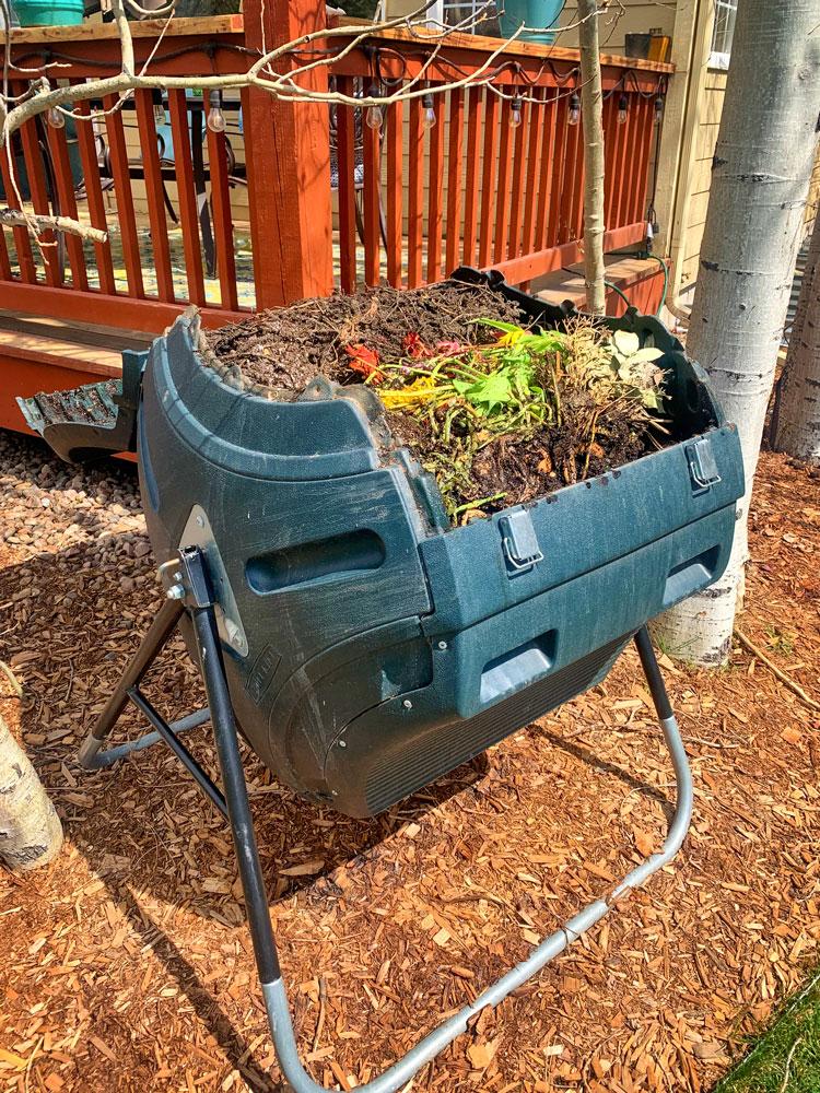 Photo of backyard batch composting system.