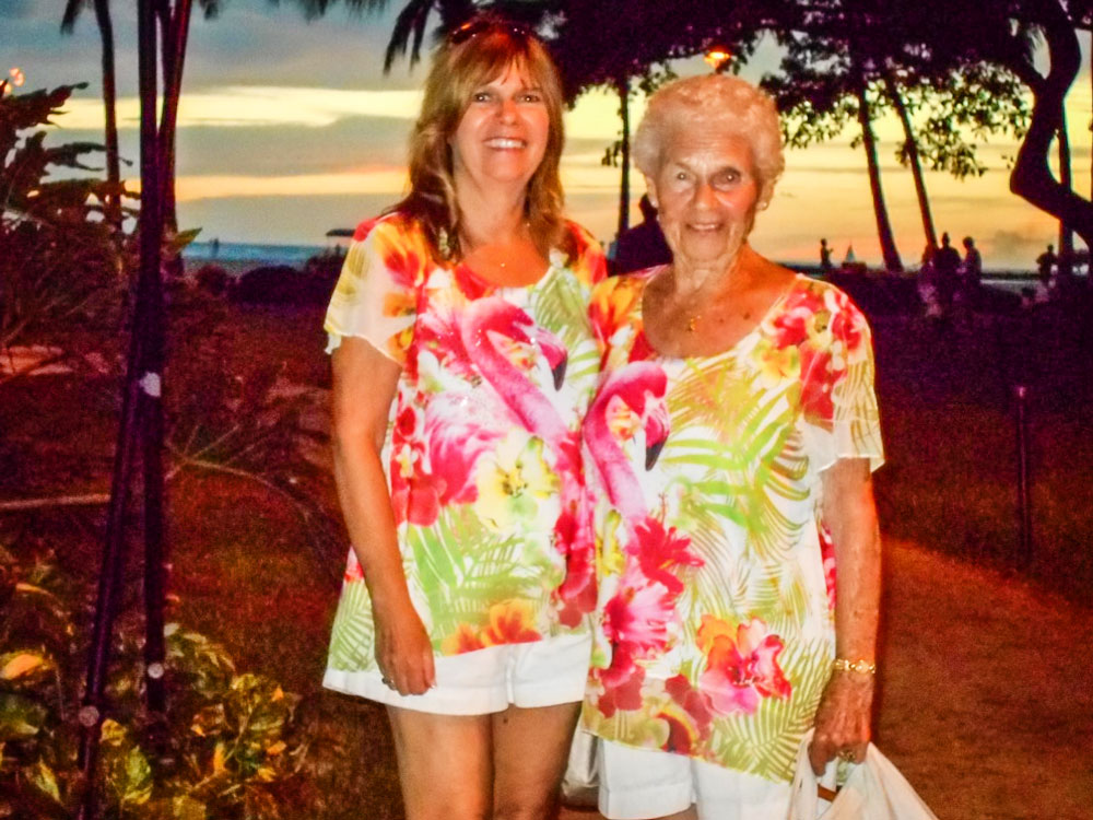 Photo of Michele Palmieri with her mom, Ann, on one of their annual trips to Hawaii.