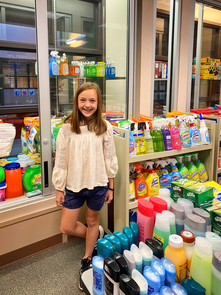 Photo off Fourth grader Madi Petau really enjoyed participating in the school food drive.