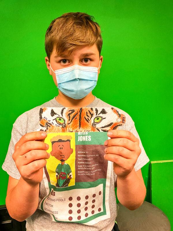 Photo of fifth grader Cole Richardson's striking tiger eye bookmark