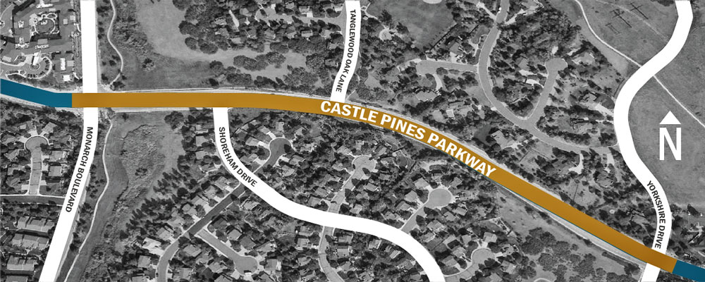 Drawing of area if reconstruction of Castle Pines Parkway