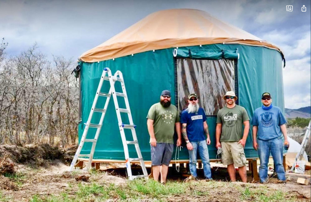 Photo of Dads of Castle Rock who build yurts for Williams World Village for