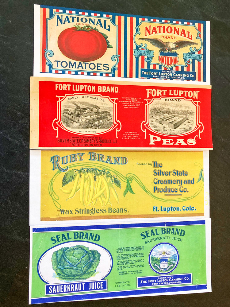 Photo of four of the labels used at Silver State cannery in Fort Lupton.