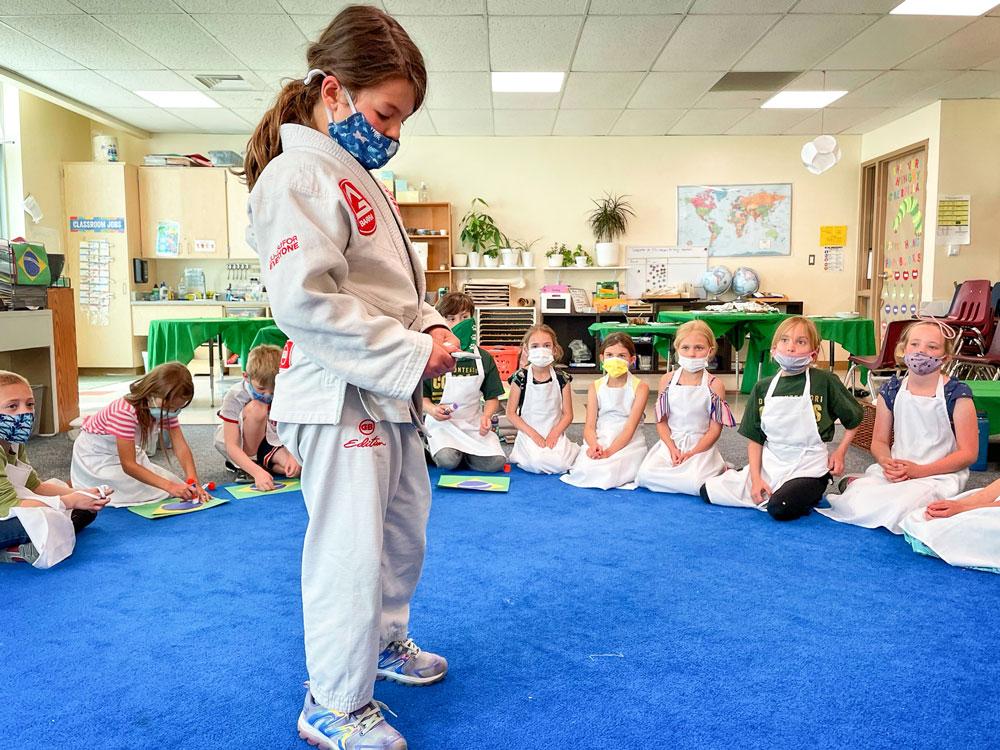 Photo of student demonstrating on Brazilian jiujitsu moves.