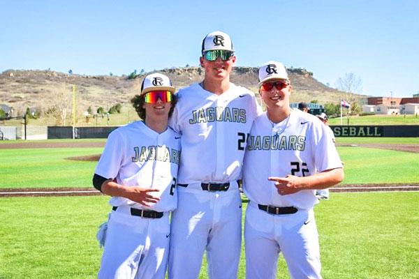 Photo of RCHS varsity baseball players Brayden Duman, Zach Taylor and Cade Nelson.