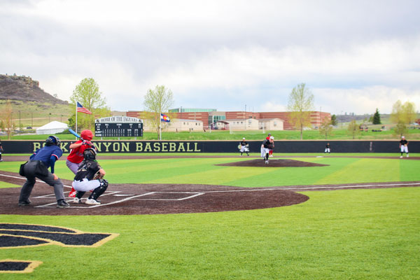 The new artificial turf is one of the many improvements to the Rock Canyon baseball program.