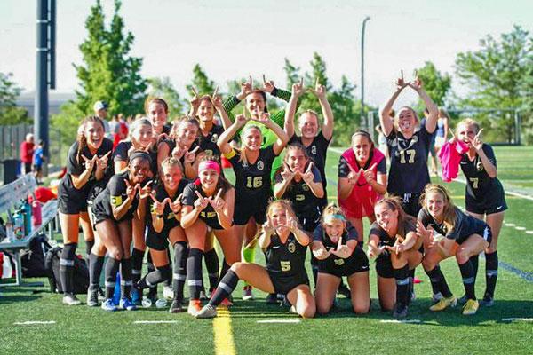 Photo of the Rock Canyon High School girls varsity soccer team.
