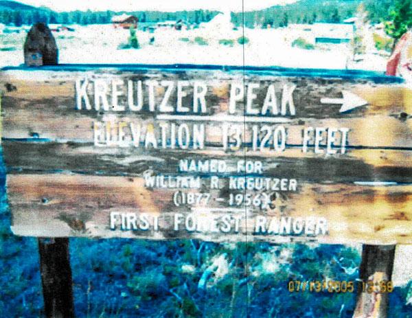 Photo of Kreutzer Peak sign