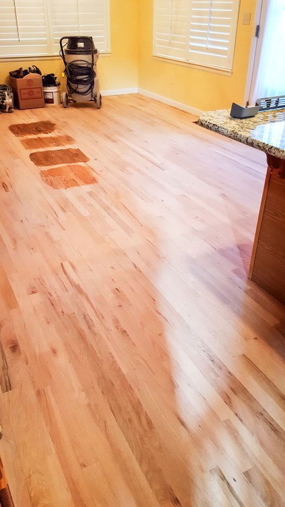 Photo of multiple floor stain samples for wood floors