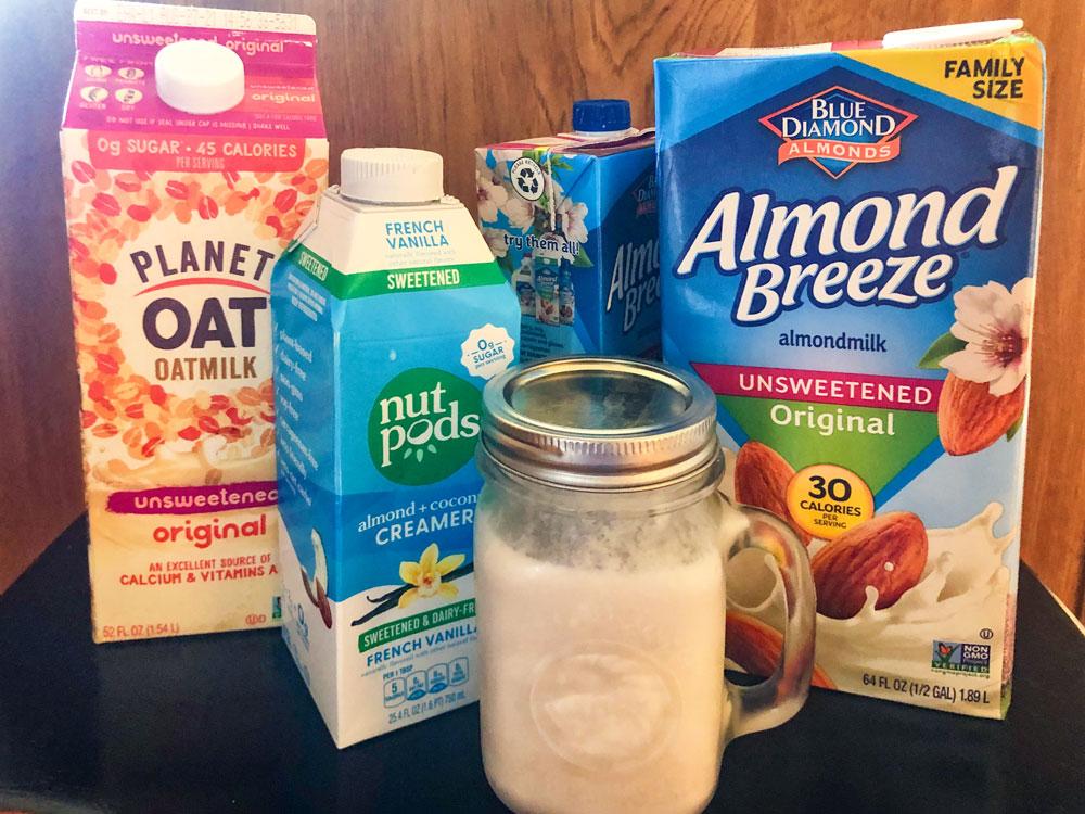 Photo of alternate types of non-dairy milk.