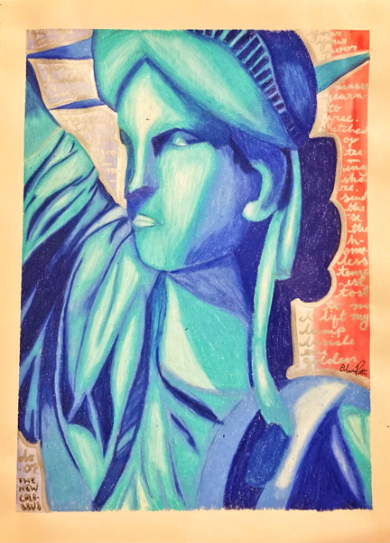 Photo of Olivia Potter's patriotic rendition of the Statue of Liberty