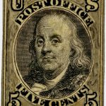 Picture of The first U.S. postage stamp honoring Benjamin Franklin