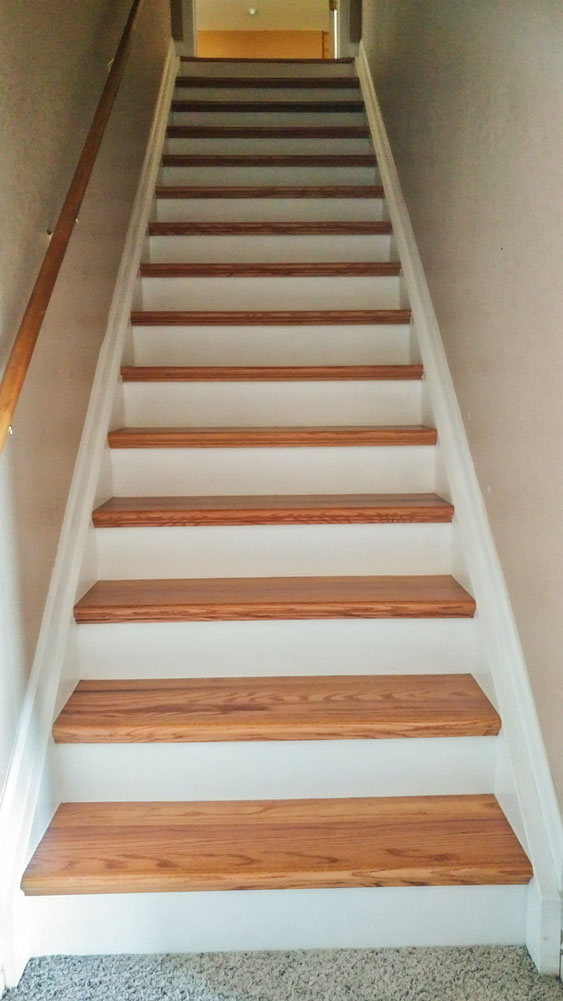 Photo of moved and remodeled stairs.