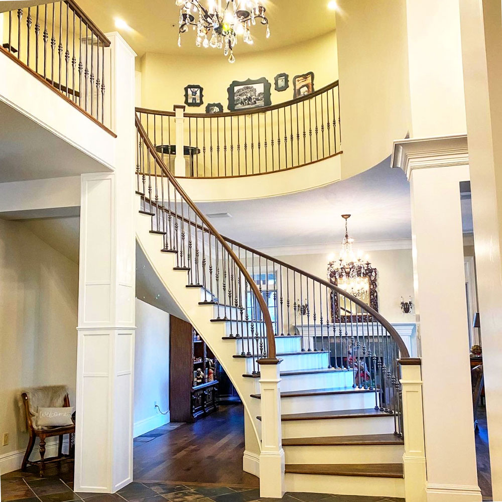Photo of a grand floating staircase.
