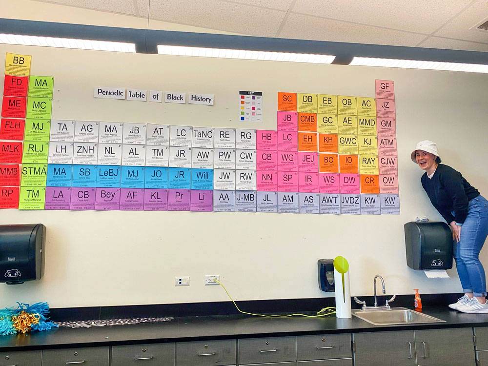Photo of Meredith Wilemon displays her Periodic Table of Black History
