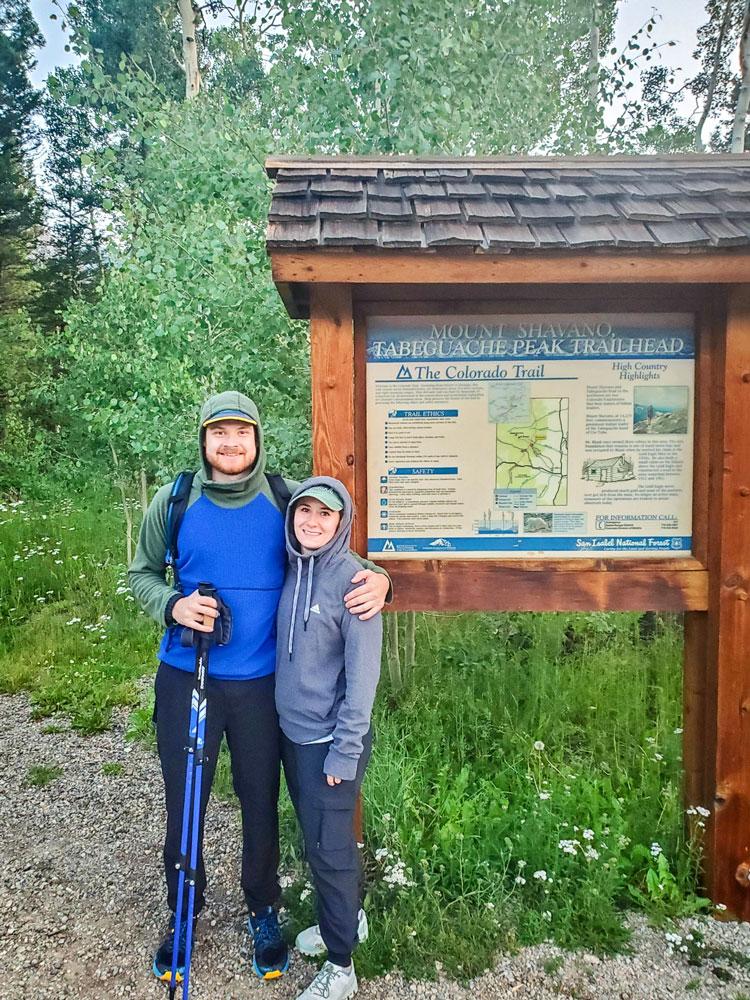 Photo of Wilemon and Clodfelder hiking a 14er together.