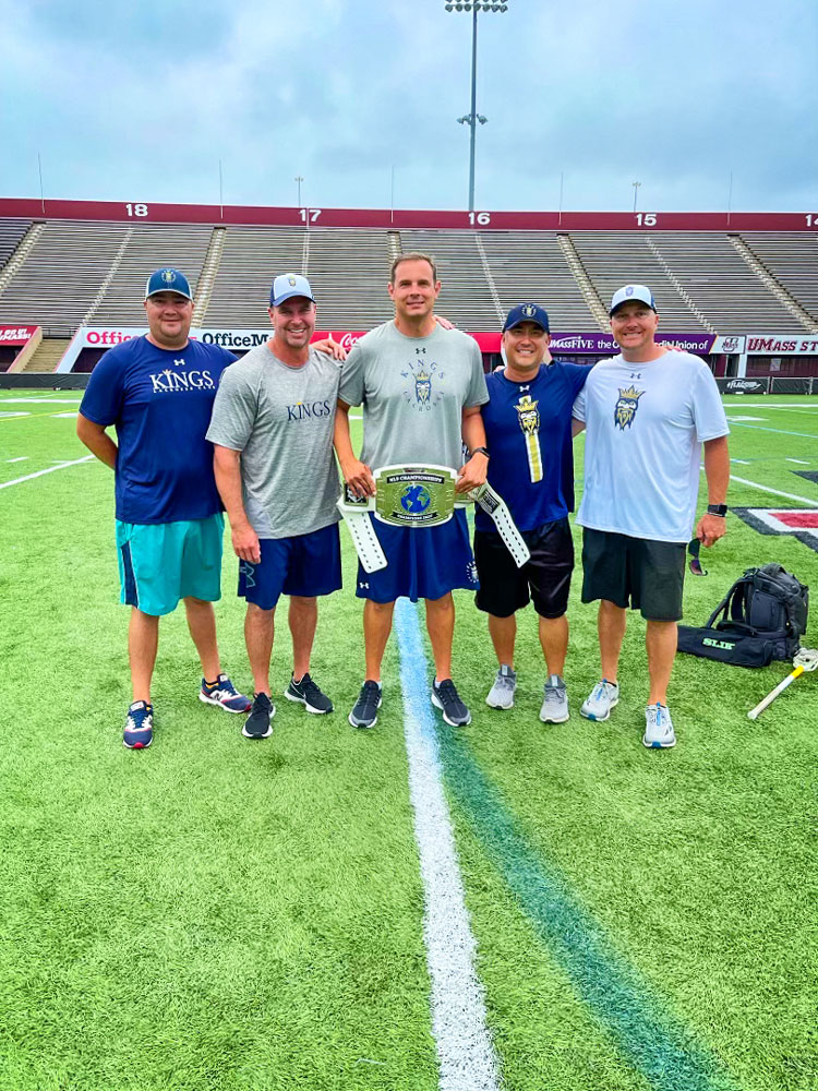 Photo of Kings Lacrosse coaches (left to right): Kevin Olsen, Chad Kellogg, Ray Cross, Carlos Aragon and Dave Petau.