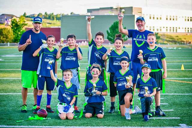 Photo of Seattle Seahawks flag football winners.