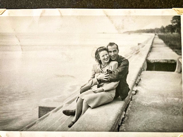 Photo of Velva and Curtis posing for the camera in 1946.