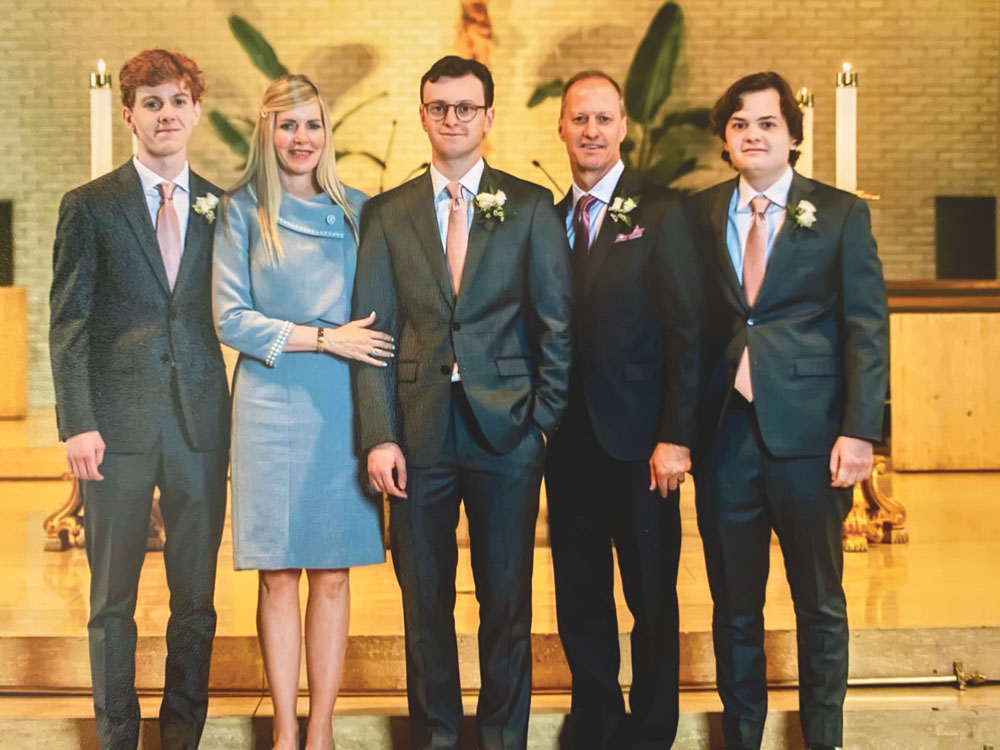 Photo of the Baudier family, left to right: Fisher, Cherie, Hunter, Jeff and Spencer.