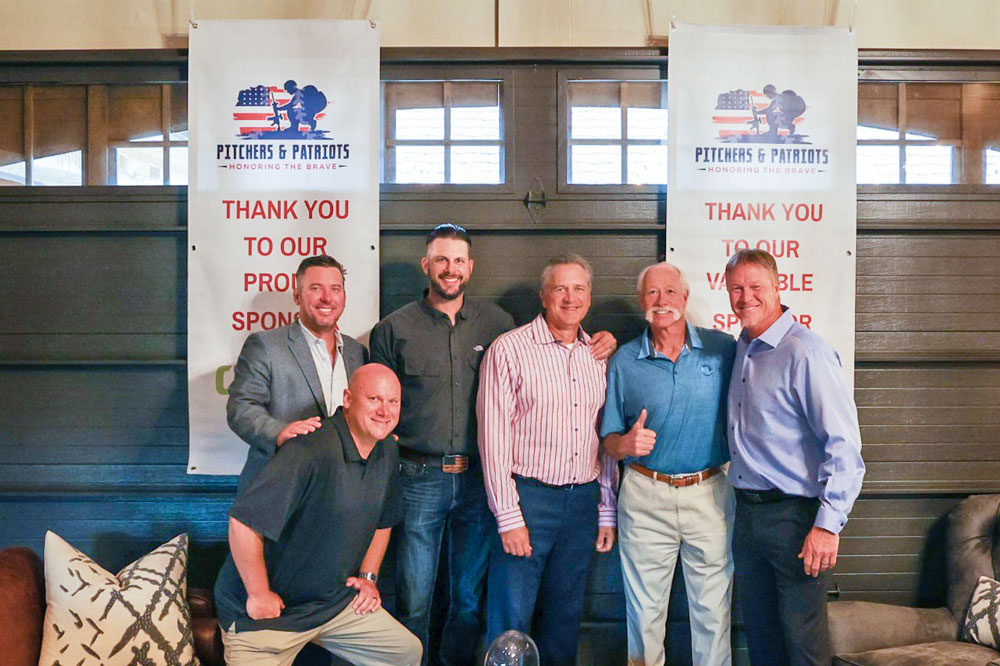 Photo of former baseball players at Pitchers and Patriots event.