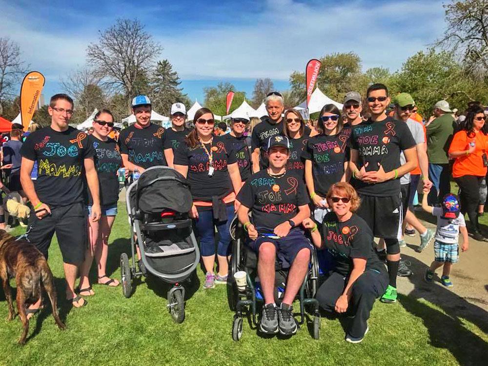 "Photo of Team ""Joe Mamma"" supports Joe Schneiderwind at a multiple sclerosis (MS) walk."
