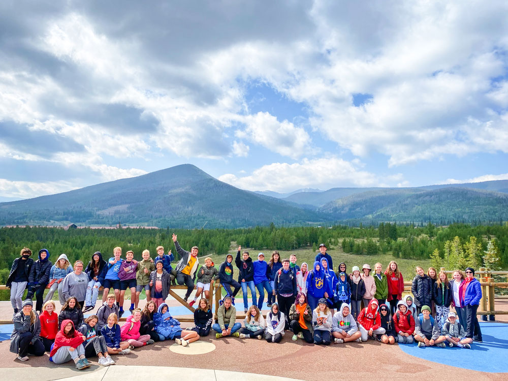 Photo of DCS Montessori middle school students at Snow Mountain Ranch