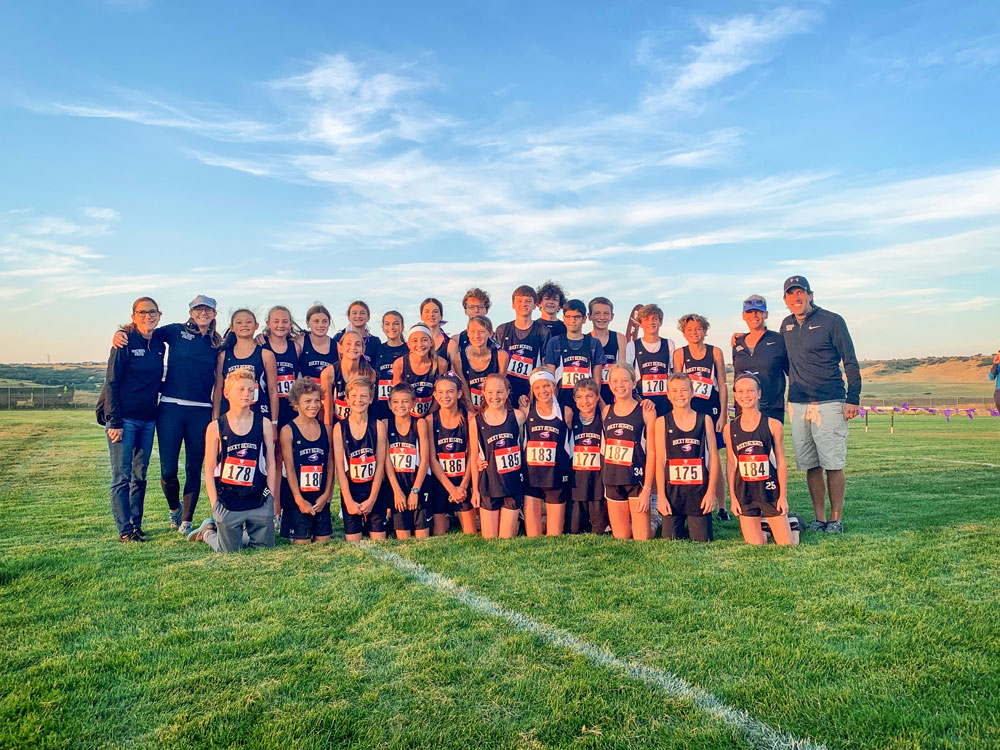 Photo of the Rocky Heights Middle School (RHMS) cross country team