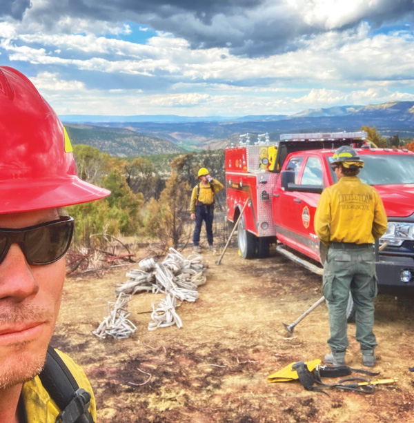 Phot of SMFR firefighter Brian Delasantos takes a selfie during a water break.